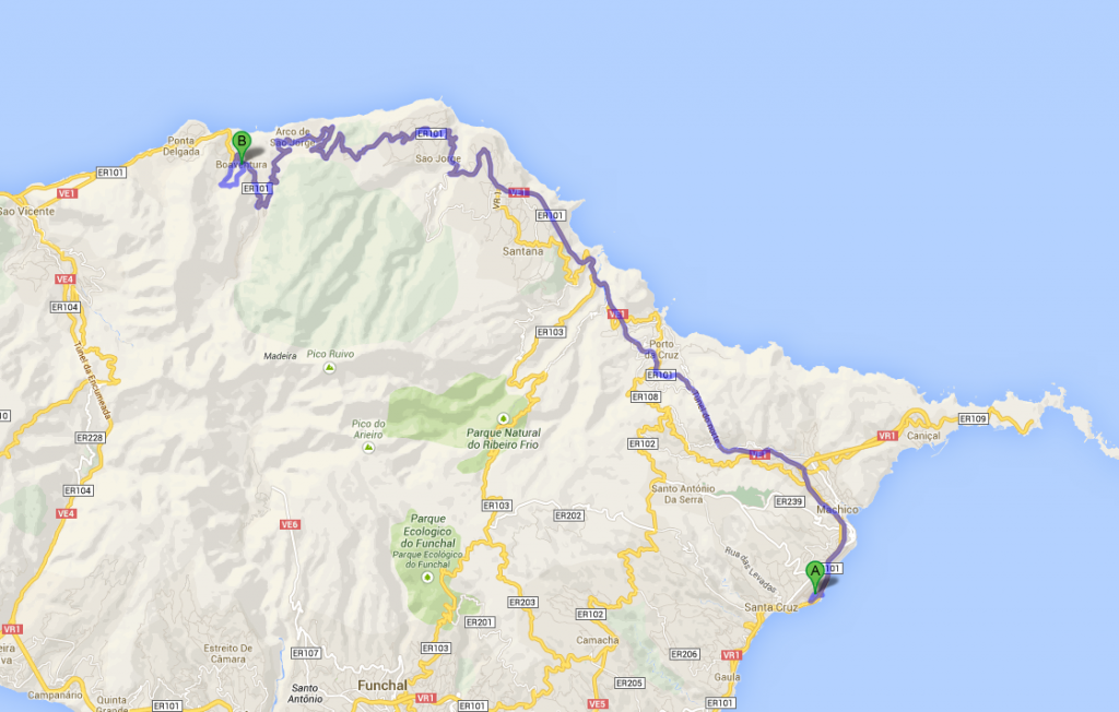 Map of Funchal airport to Boaventura
