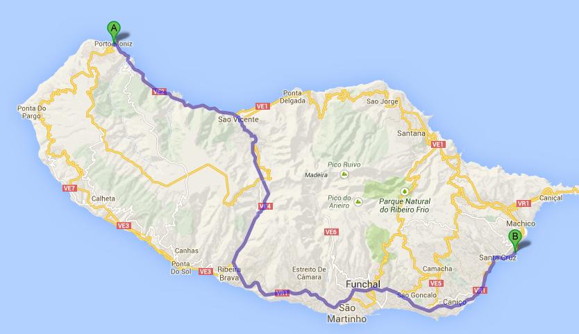 Map of Funchal Airport to Porto Moniz