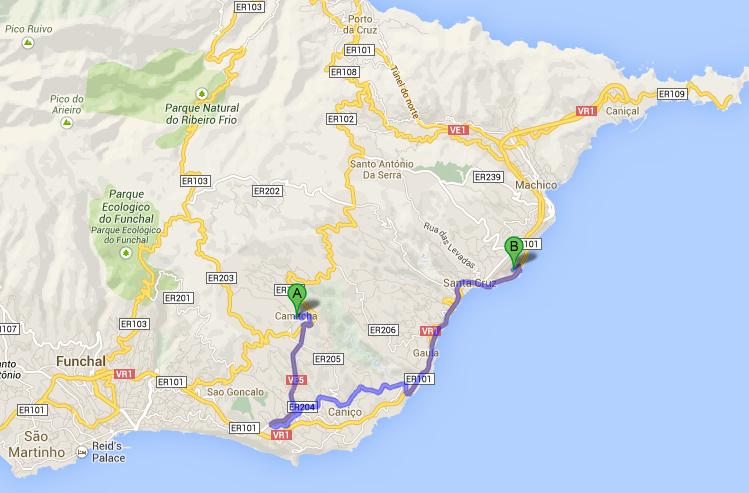 Funchal Airport Map to Camacha