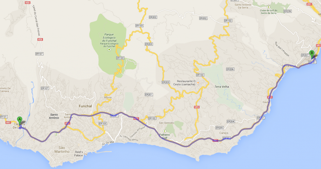 Funchal Airport Map to Camara Lobos
