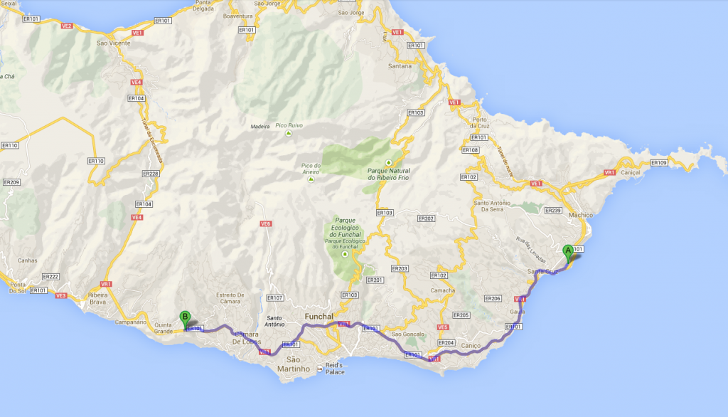 Map of Funchal airport to Cabo Girao