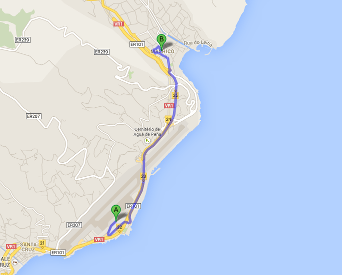 Map of Funchal Airport to Machico